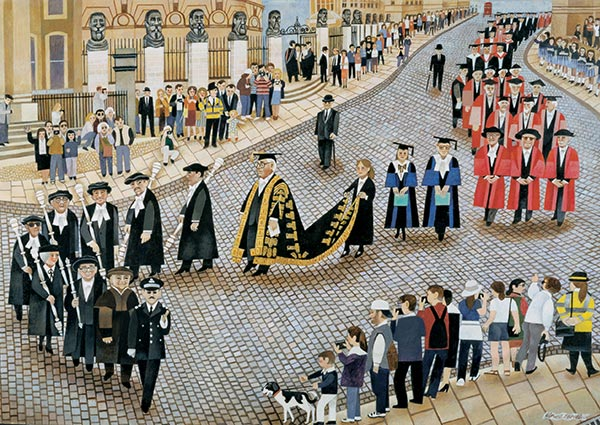 The Encaenia Procession, Oxford, Greeting Card by Alfred Daniels - Thumbnail