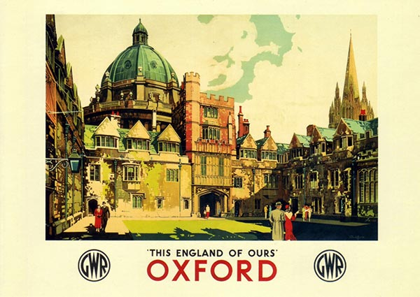 Brasenose College and the Radcliffe Camera, Oxford, Greeting Card by Claude Buckle - Thumbnail