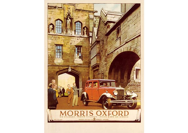 Morris Oxford at New College Oxford, Greeting Card by R. S. Pike - Thumbnail