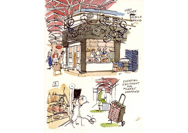 Bicycles in the Covered Market, Oxford, Greeting Card by Michele Tranquillini - Thumbnail