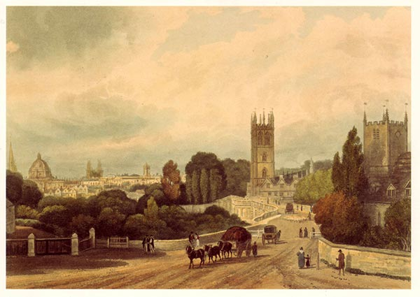 Entrance to Oxford from London Road, Greeting Card by Joseph Nash - Thumbnail