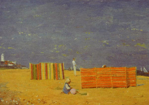 Windbreaks, Southwold Beach, Greeting Card by Margaret Green - Thumbnail