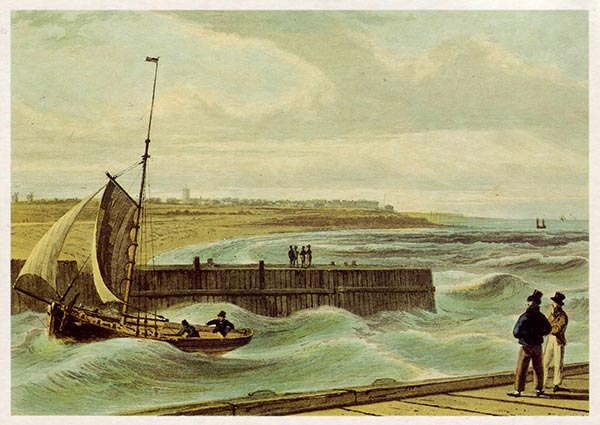 Southwold Harbour, Greeting Card by William Daniell - Thumbnail