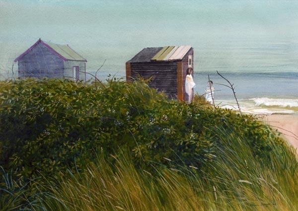 Beach Huts at Walberswick, Greeting Card by William Bowyer - Thumbnail