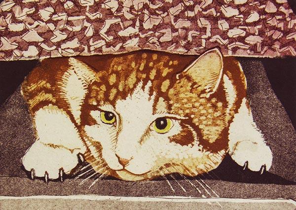 Hiding Cat, Greeting Card by Linda Richardson - Thumbnail