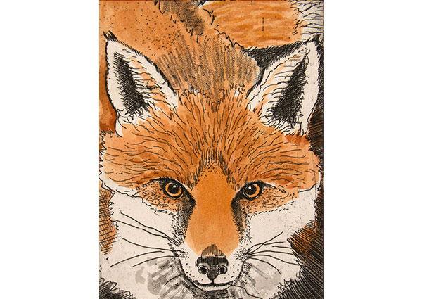 Fox (linocut), Greeting Card by Linda Richardson - Thumbnail