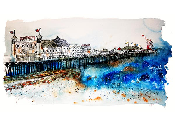 Brighton Pier, Greeting Card by Eddie Saul - Thumbnail