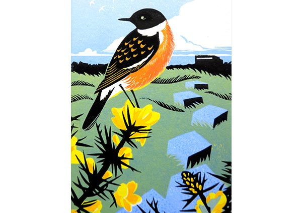 Minsmere Stonechat (linocut), Greeting Card by Jeremy James - Thumbnail
