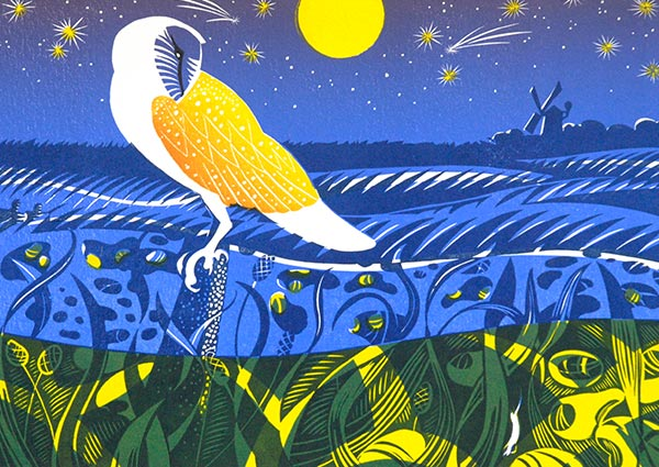Cley Owl (linocut), Greeting Card by Jeremy James - Thumbnail