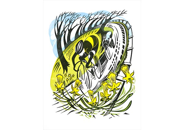 Spring Cycle (linocut), Greeting Card by Jeremy James - Thumbnail