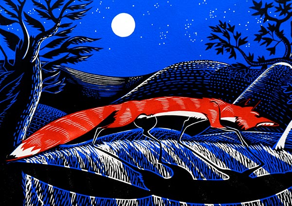 Night Fox (linocut), Greeting Card by Jeremy James - Thumbnail