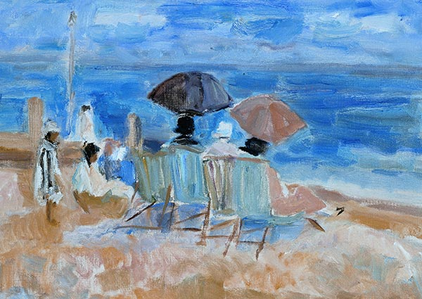 Sunshades on the Beach at Aldeburgh, Greeting Card by Peggy Somerville - Thumbnail