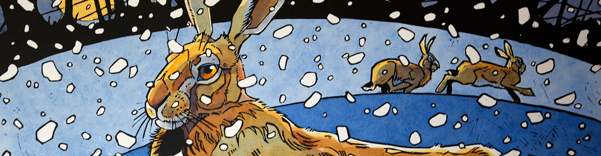 Winter Hare 3, Greeting Card by Andrew Haslen - Featured on Desktop Devices
