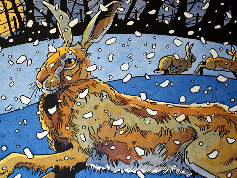 Winter Hare 3, Greeting Card by Andrew Haslen - Featured on Mobile Devices