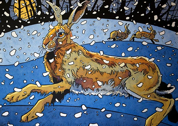 Winter Hare 3, Greeting Card by Andrew Haslen - Thumbnail
