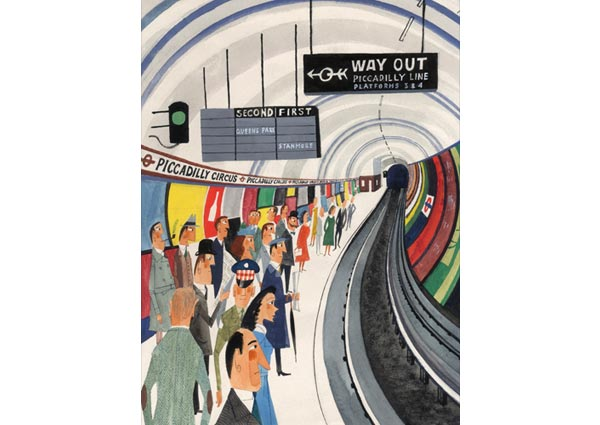 Picadilly Circus Underground Station, Greeting Card by Miroslav Sasek - Thumbnail