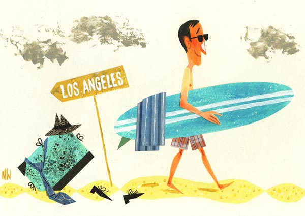 Los Angeles Surfer, Greeting Card by Miroslav Sasek - Thumbnail