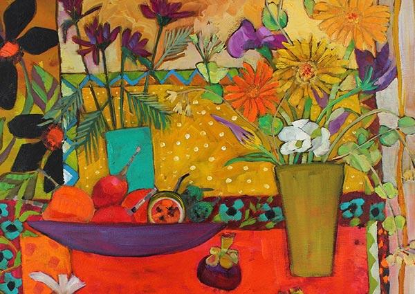 Lychees and Lemons, Greeting Card by Moira Hazel - Thumbnail