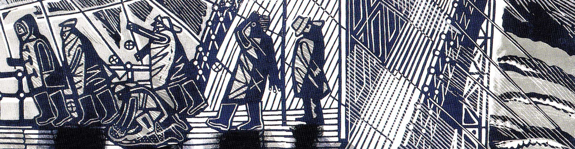 Snowstorm at Brighton (linocut), Greeting Card by Edward Bawden - Featured on Desktop Devices