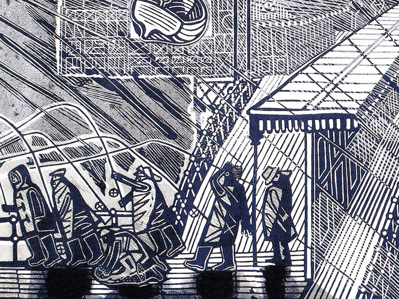 Snowstorm at Brighton (linocut), Greeting Card by Edward Bawden - Featured on Mobile Devices