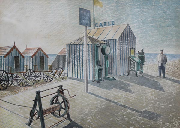 Bathing Machines, Aldeburgh, Greeting Card by Eric Ravilious - Thumbnail