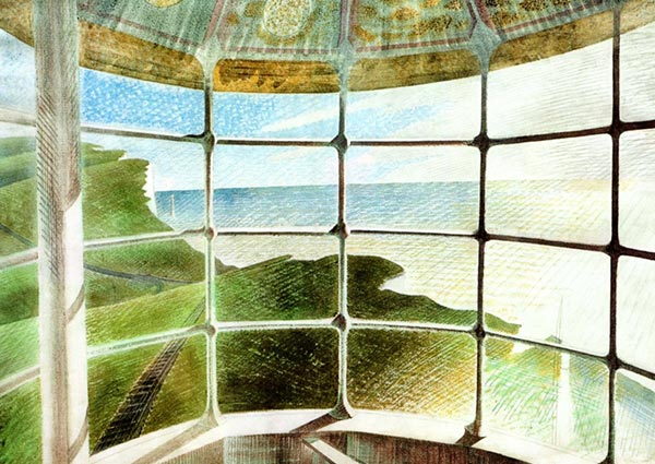 Beachy Head Lighthouse (Belle Tout Interior), Greeting Card by Eric Ravilious - Thumbnail