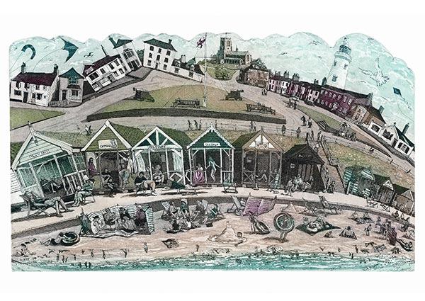 Southwold Beach Huts, Greeting Card by Glynn Thomas - Thumbnail