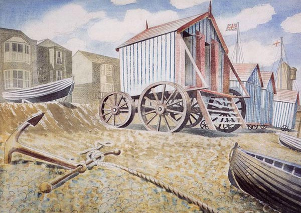 Late August Beach, Aldeburgh, Greeting Card by Eric Ravilious - Thumbnail