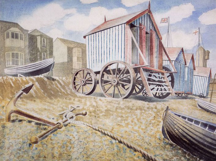 Late August Beach, Aldeburgh, Greeting Card by Eric Ravilious - Zoomed