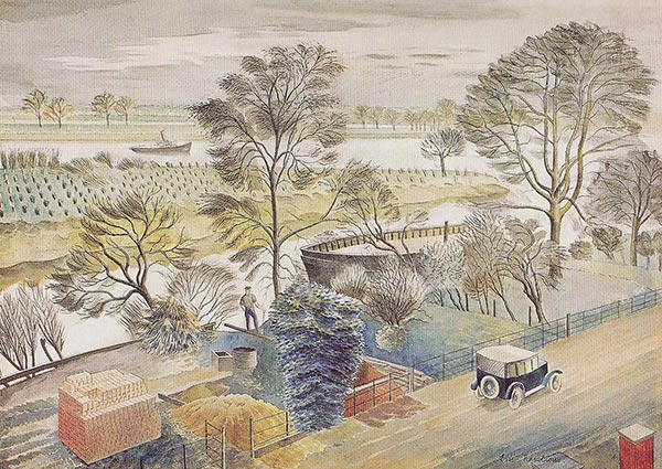 River Thames, Chiswick Eyot, Greeting Card by Eric Ravilious - Thumbnail