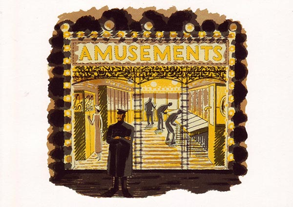 Amusement Arcade, Greeting Card by Eric Ravilious - Thumbnail
