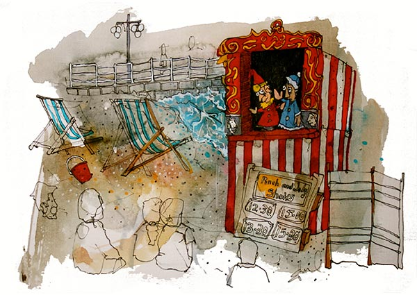 Punch and Judy, Greeting Card by Eddie Saul - Thumbnail