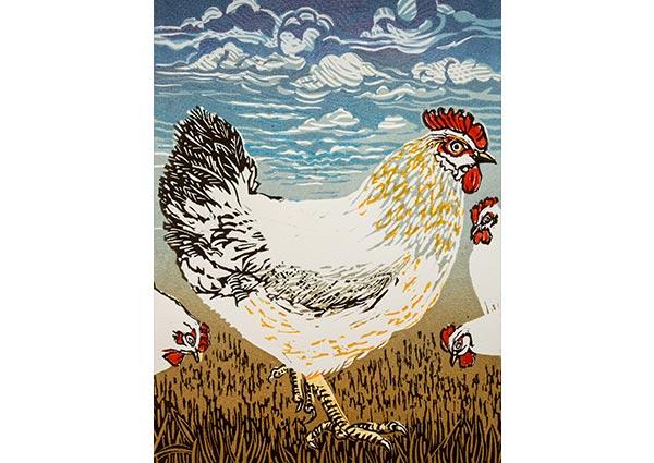 Hens (linocut), Greeting Card by Linda Richardson - Thumbnail
