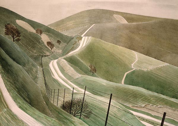 Chalk Paths, Greeting Card by Eric Ravilious - Thumbnail