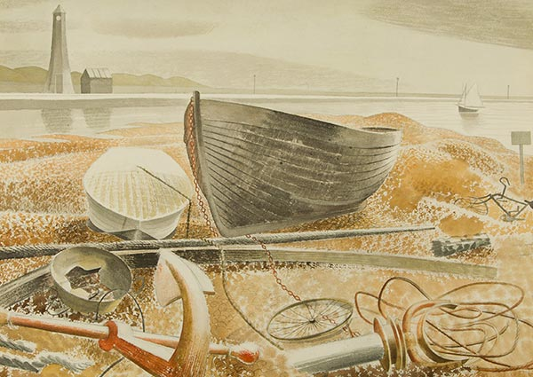 Anchor and Boats, Rye, Greeting Card by Eric Ravilious - Thumbnail