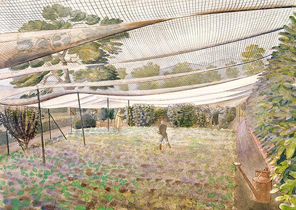 Strawberry Nets, Greeting Card by Eric Ravilious - Thumbnail