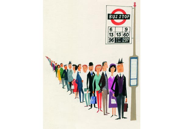 London Bus Queue, Greeting Card by Miroslav Sasek - Thumbnail