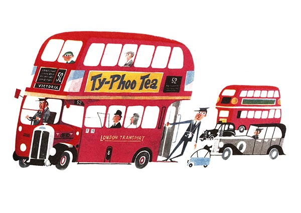 London Bus, Greeting Card by Miroslav Sasek - Thumbnail
