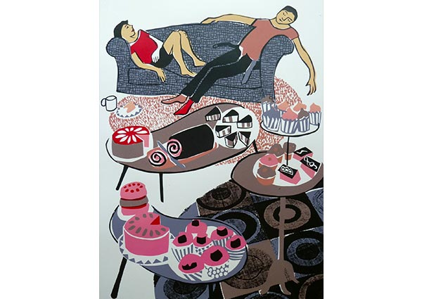 They all Brought Cake, Greeting Card by Moira Wills - Thumbnail
