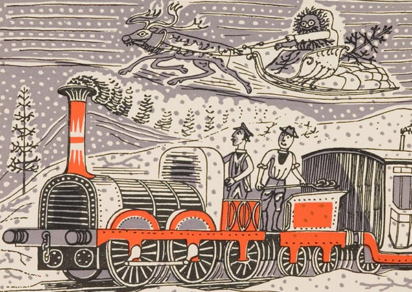 Titfield Thunderbolt Christmas Card, Greeting Card by Edward Bawden - Thumbnail