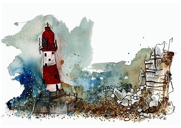Beachy Head, Greeting Card by Eddie Saul - Thumbnail