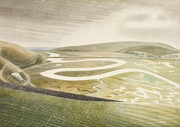 Cuckmere Haven, Greeting Card by Eric Ravilious - Thumbnail