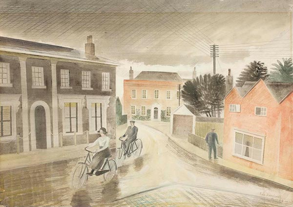 Village Street, Greeting Card by Eric Ravilious - Thumbnail