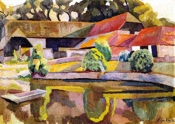 Barns and Pond, Charleston, Greeting Card by Roger Fry - Thumbnail