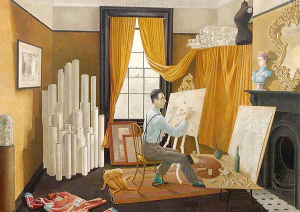 Edward Bawden Working in His Studio, Greeting Card by Eric Ravilious - Thumbnail