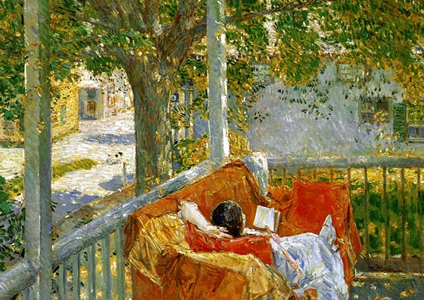 Couch on the Porch, Cos Cob, Greeting Card by Childe Hassam - Thumbnail