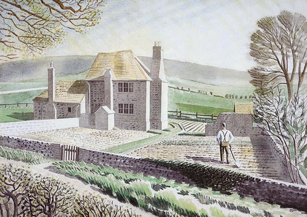 Shepherd's Cottage, Firle, Greeting Card by Eric Ravilious - Thumbnail