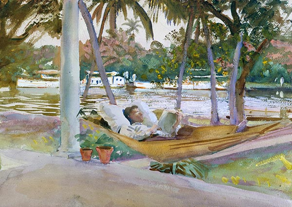 Figure in Hammock, Florida, Greeting Card by John Singer Sargent - Thumbnail