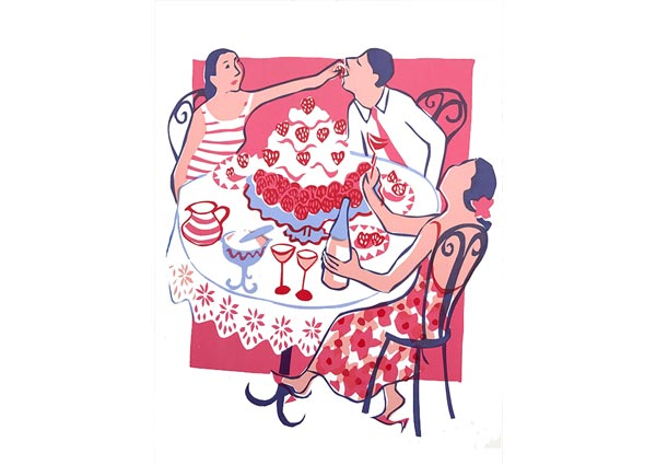 Strawberry Pavlova, Greeting Card by Moira Wills - Thumbnail