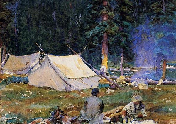 Camping at Lake O'Hara, Greeting Card by John Singer Sargent - Thumbnail